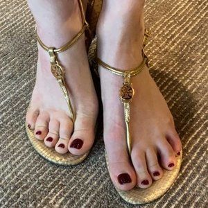 Tory Burch Emmy Gold Snakeprint Strappy Sandal 7